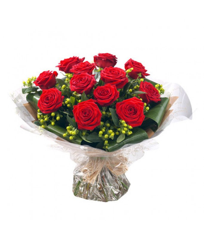 12 Red Roses Hand Tied